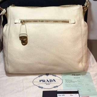 36d10b483f55 Authentic Prada Cervo Talco White Leather Hobo Bag