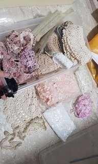 Shabby chic lace collection for scrapbooking and romantic home decor