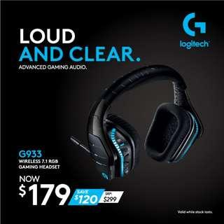 Logitech G933 Artemis Spectrum – Wireless RGB 7.1 Dolby and DST Headphone Surround Sound Gaming Headset – PC, PS4, Xbox One, Switch, and Mobile Compatible