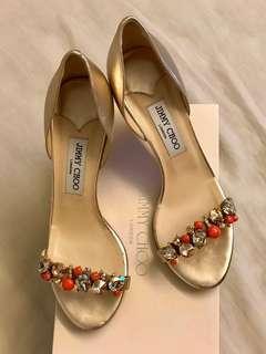 Jimmy choo shoes 金色羊皮高踭鞋