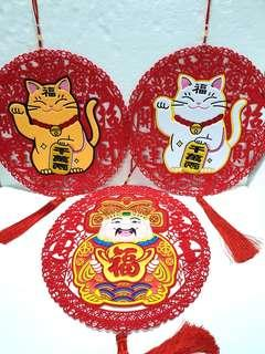 (XL) CNY Hanging Ornaments / Decorations ↪ God Of Wealth, Cat of Wealth 💱 $28.00 Each Piece/ $50.00 for 2 Pieces