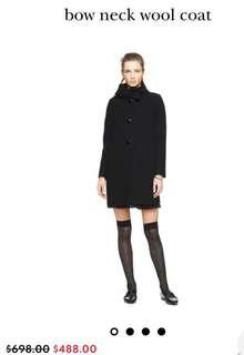 KATE SPADE Bow Neck Wool Coat SIZE 0