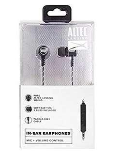 Original Altec Lansing In-Ear Stereo Metal Earbuds, Black (MZX147-BLK)