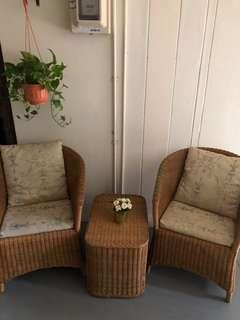Cane Table and Chair Set