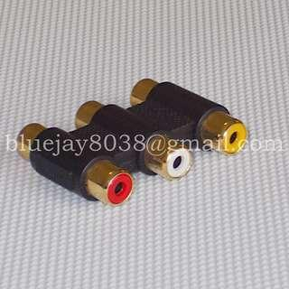 3 RCA Audio Video Female to Female Coupler Adapter 3RCA Connector AV AC Gold -- 00296