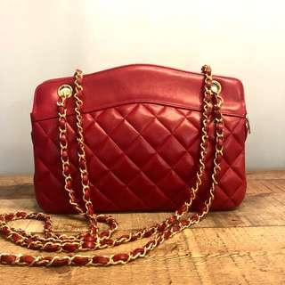 Authentic Chanel Red Lambskin Sling Bag w 24k Gold Hardware
