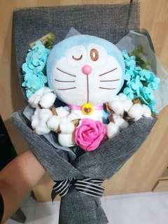 (1 LEFT!)  Vday Doraemon cotton & rose flower bouquet