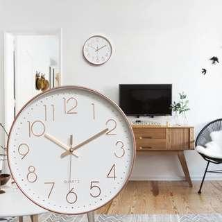 ROSE GOLD FRAME WITH WHITE FACE WALL CLOCK (SILENT MOVE)