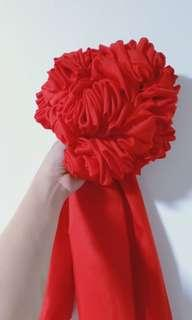 结婚新郎 胸前大红花球