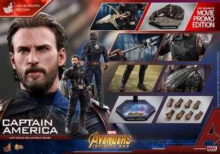 *PO* Captain America (Movie Promo Edition) Sixth Scale Figure by Hot Toys Avengers: Infinity War Movie Masterpiece Series