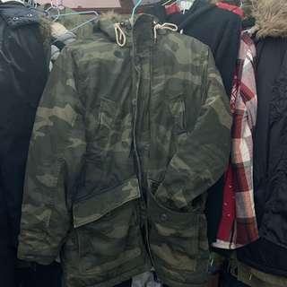 Abercrombeie & Fitch 羊羔絨迷彩連帽外套 大衣 M號 #衣櫃大掃除