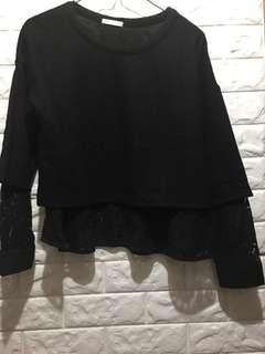 簡單黑色2種布料合併上衣