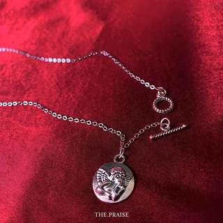 Silver angel coin necklace