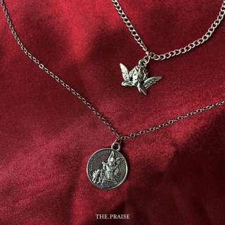 Vintage silver angel gothic coin double chain necklace