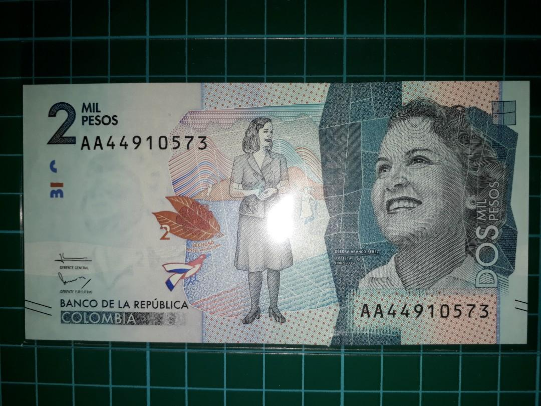 America Colombia 2000 Pesos Paper Note 2017 Series On Carou