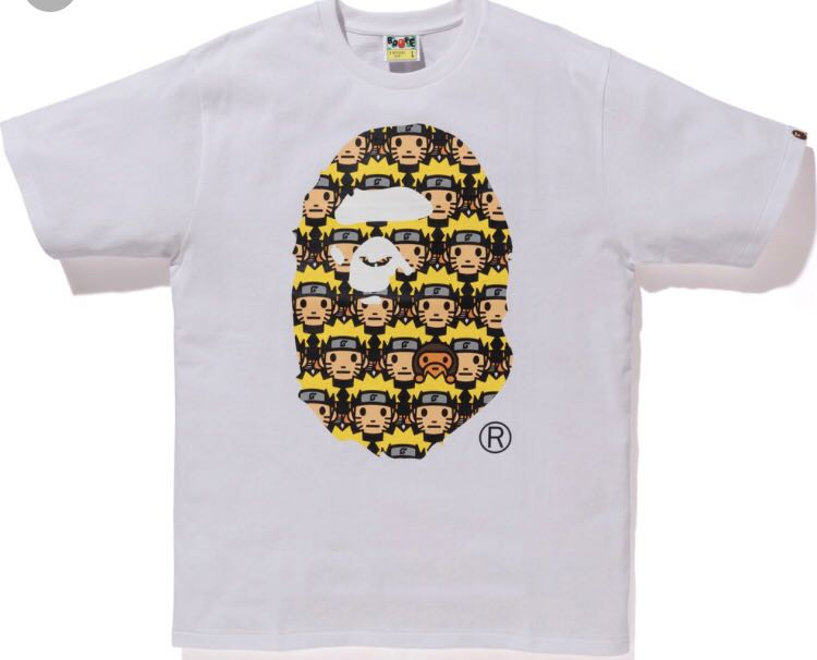 42c835c10 Bape X Naruto - Bape Head Tee, Size L, Men's Fashion, Clothes, Tops ...