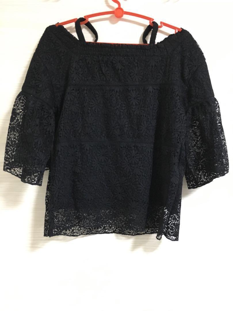 Black Off Shoulder Lace Top