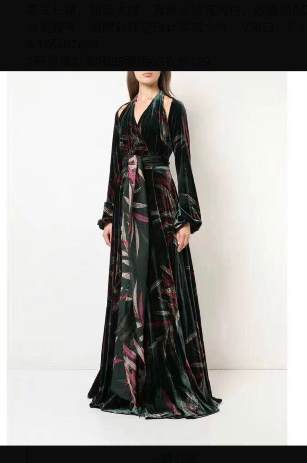 Bnwt Authentic Diane Von Furstenberg Velvet Cut Out Silk Dress Gown Women S Fashion Clothes Dresses Skirts On Carousell