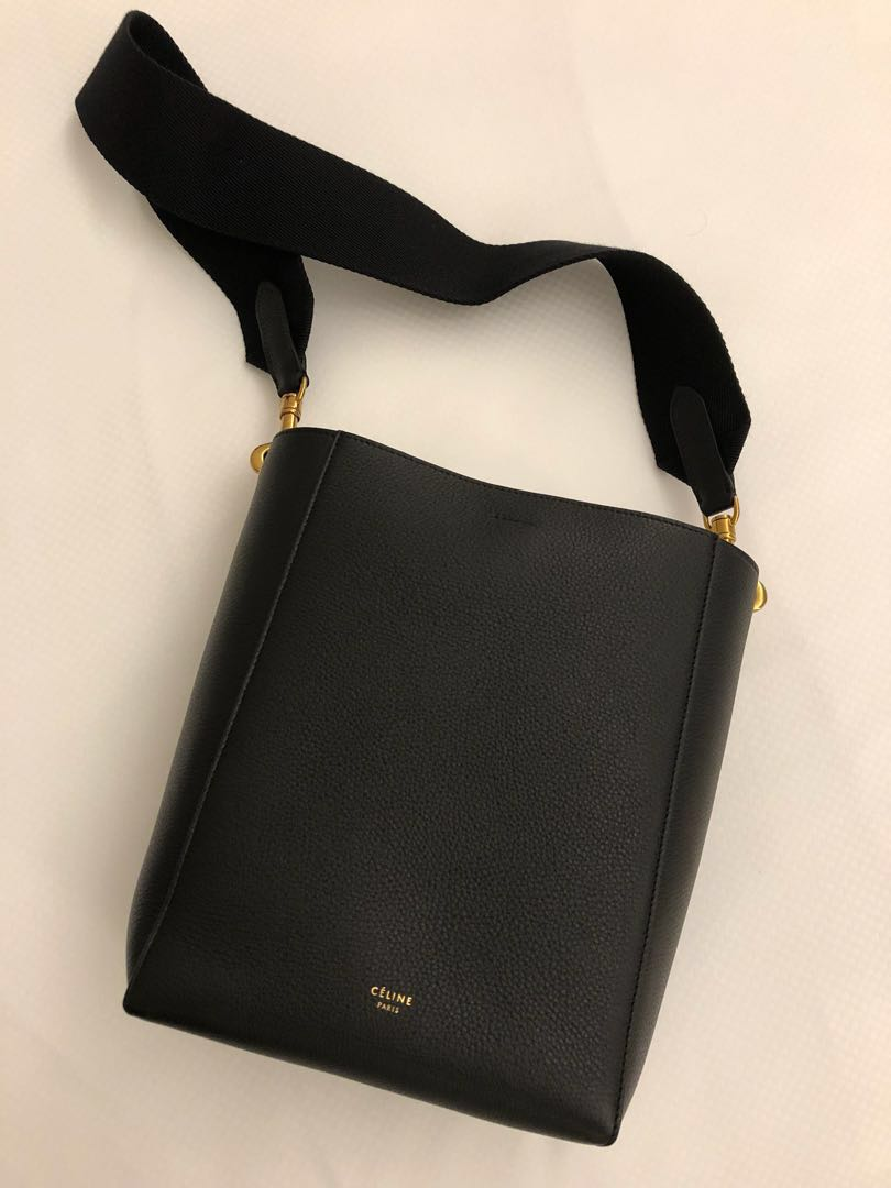 b5d71cc07fbc Celine Sangle small bucket bag in soft grained calfskin in black ...