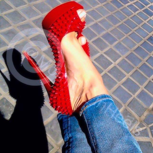 Christian Louboutin Lady Peep Spikes Peep Toe