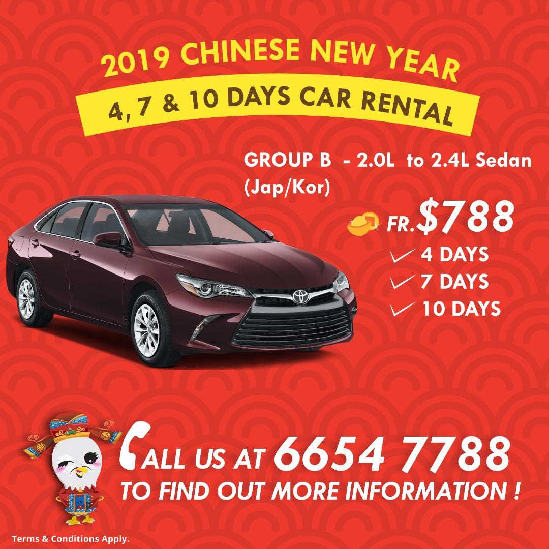 CNY Car Rental Promotion Packages - 4, 7 or 10 Days