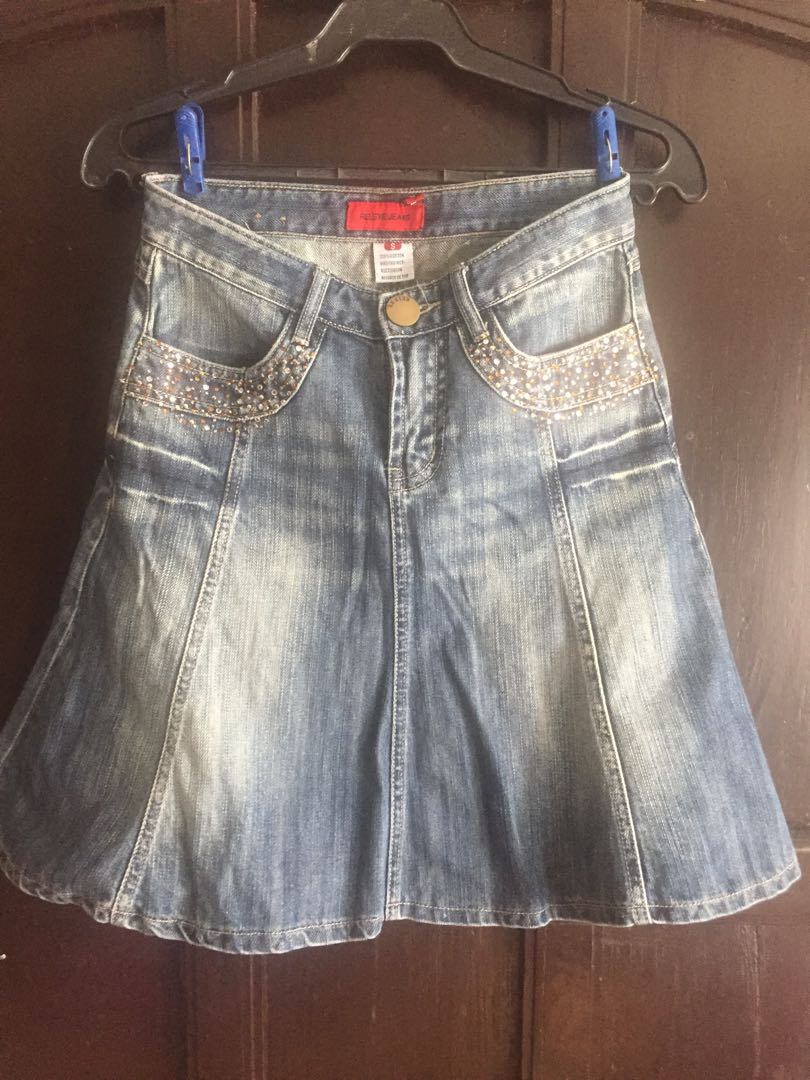 a481c437e Denim Skirt With Front Pockets