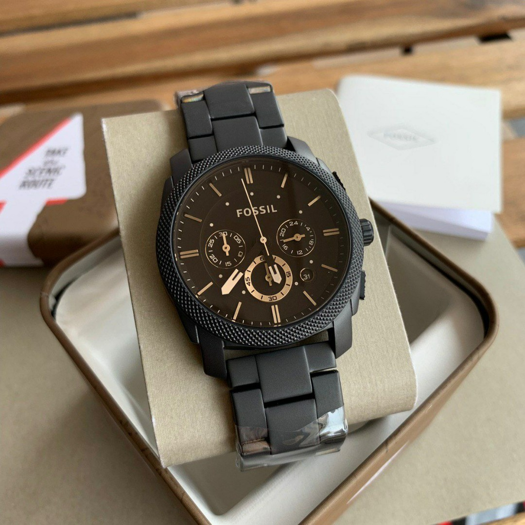 939c566622f Fossil Original MACHINE MID-SIZE CHRONOGRAPH BLACK STAINLESS STEEL ...