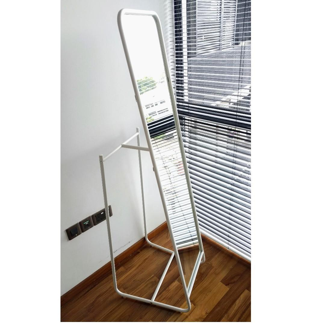 Knapper Standing Mirror Ikea White Good Condition Furniture Others On Carousell