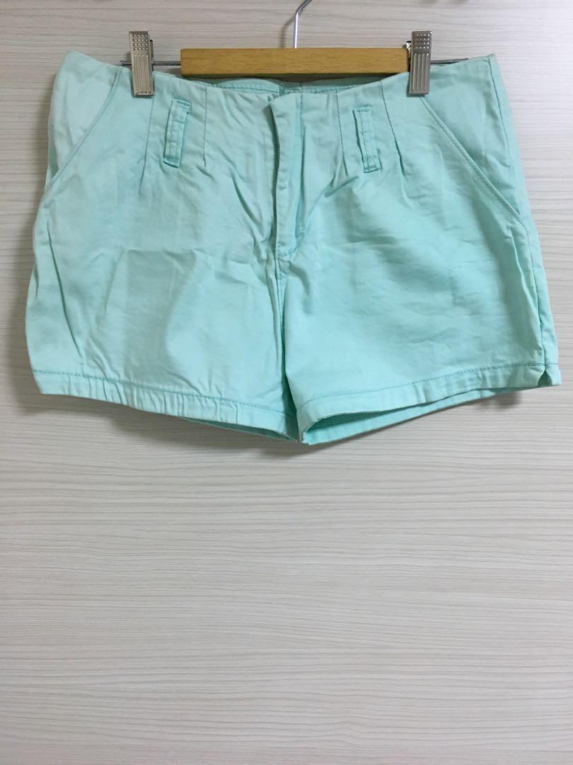 Light Turquoise Women Shorts