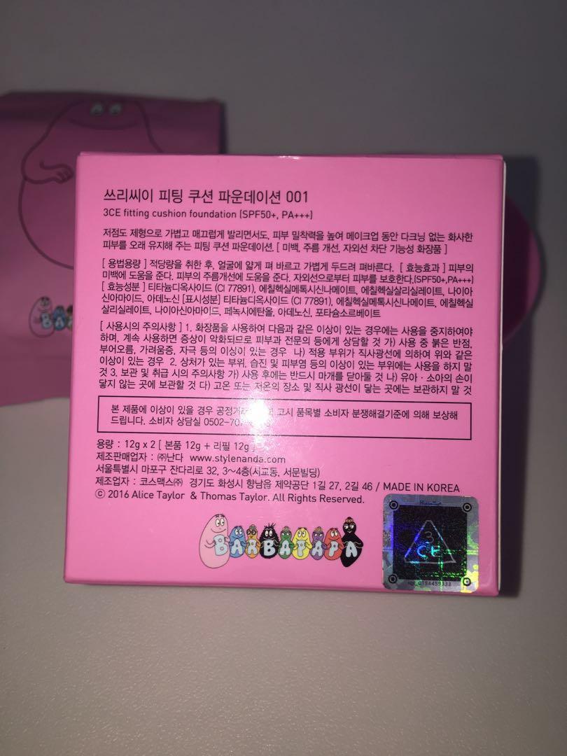 [Korean Makeup] Limited Edition 3CE x BARBAPAPA cushion foundation