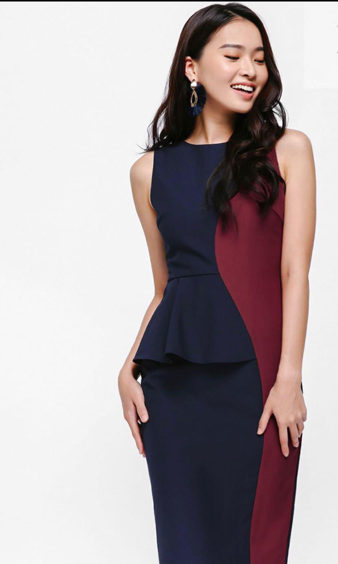 e26565871a LoveBonito LB Sinead Contrast Peplum Dress Navy Blue