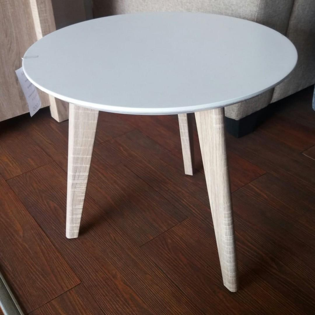 Meja Sudut Bulat Putih Home Furniture On Carousell