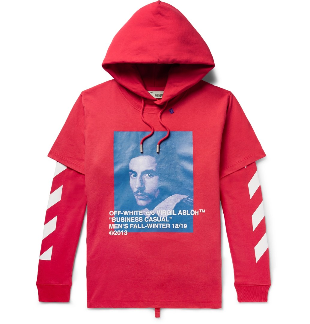 0413d91f4 Off-White Bernini printed layered hoodie - Red - Large, Men's ...