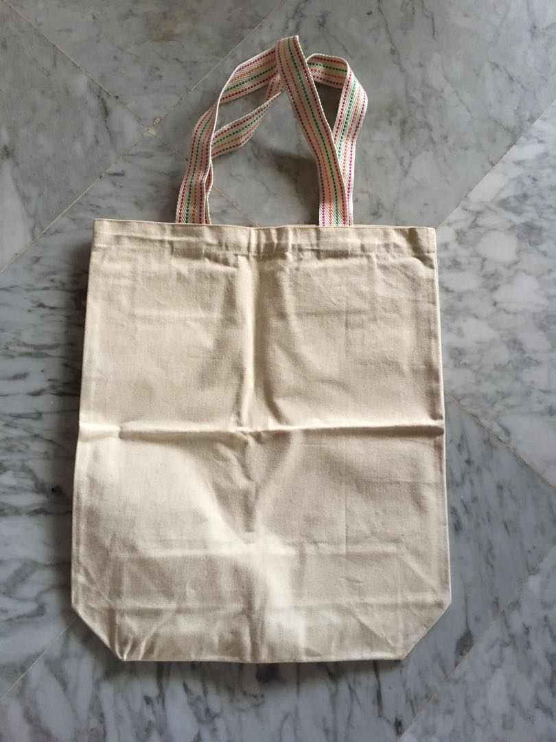 Plain Canvas Tote Bag with Rainbow Strap 65efbe4fa