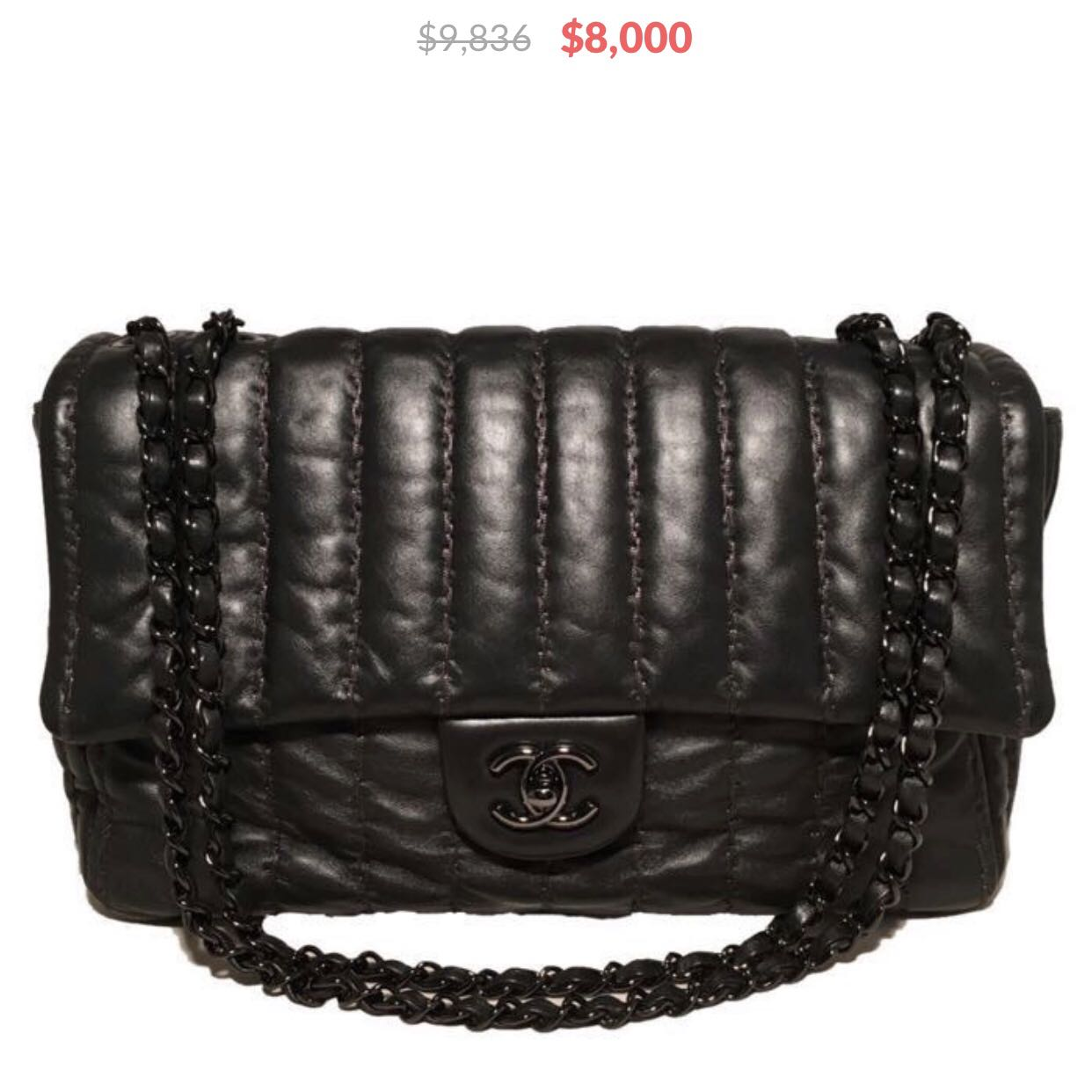 d1fc96bba9c Chanel Black Shimmery Leather Striped Quilted Jumbo Classic Flap, Luxury,  Bags   Wallets, Handbags on Carousell
