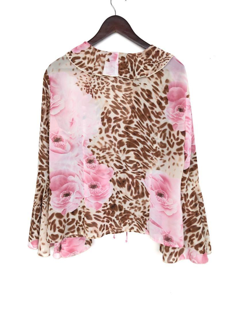 Ribkoff vintage floral pink ruffle top - made in Canada