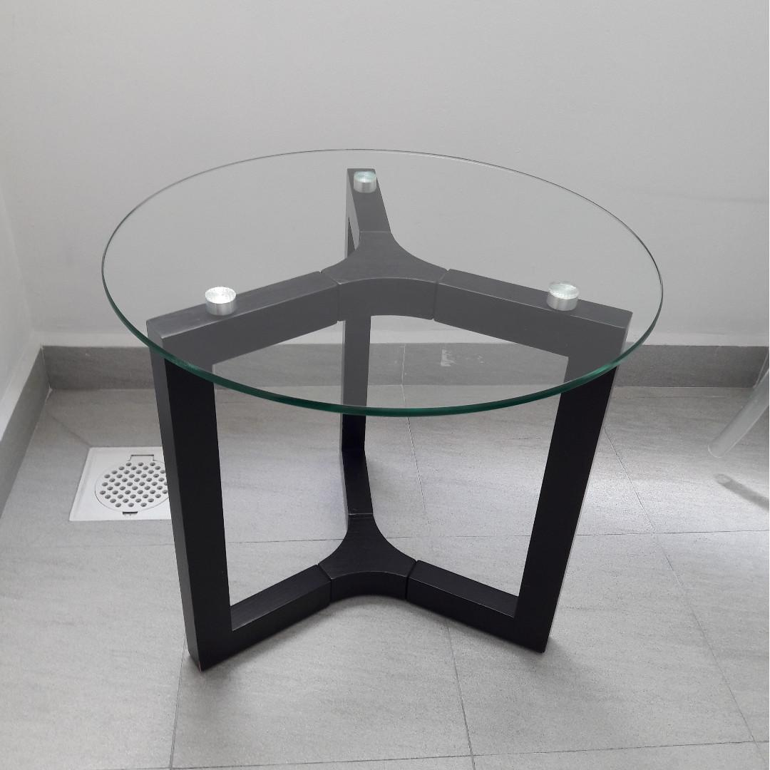 Side Table Round Glass Top Dark Brown Stand Furniture Tables