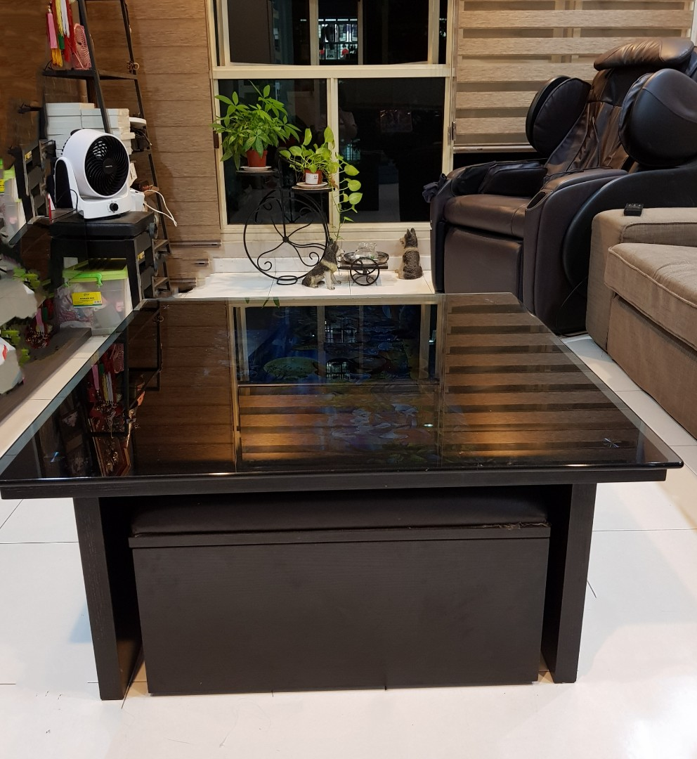 Square Coffee Table Tempered Glass Top Seats With Storage