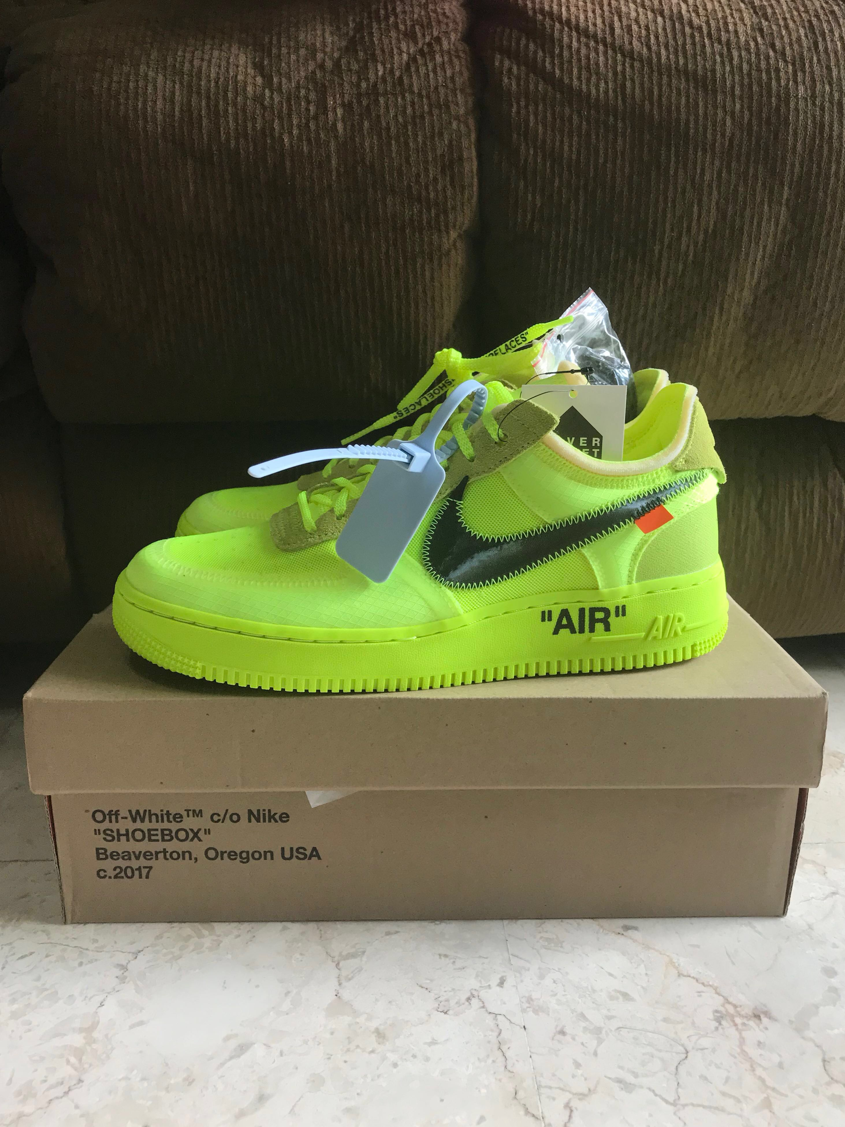 """2984a44a6ca *STEAL* US 9 Off White Nike Air Force 1 """"Volt"""", Men's Fashion, Footwear,  Sneakers on Carousell"""