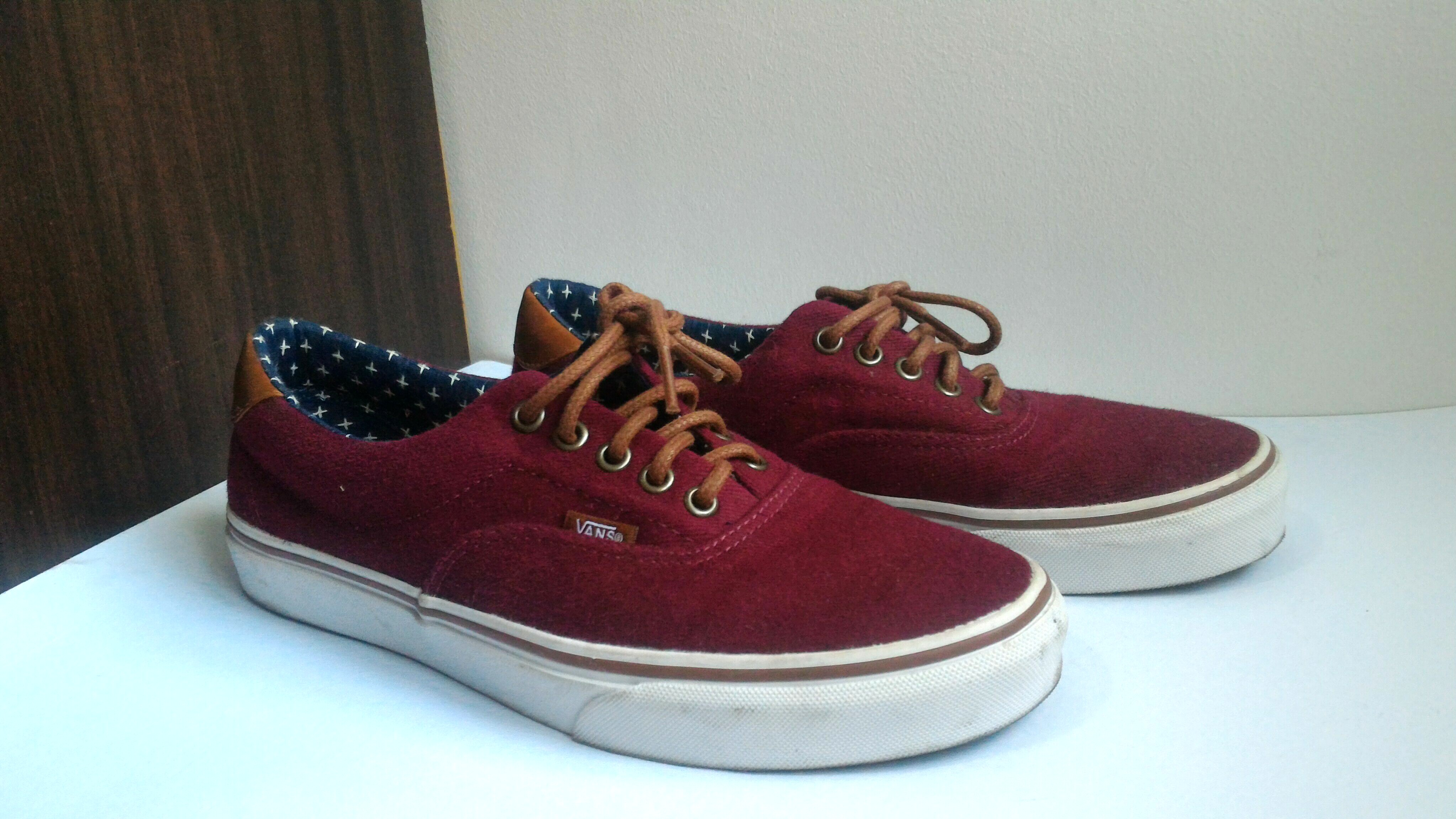 3c76a25456e1 Vans Shoes (Maroon with Leather Brown)