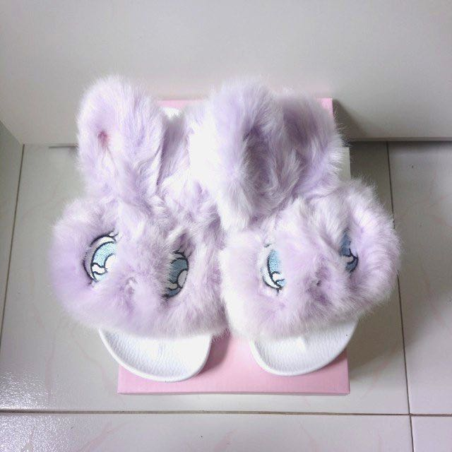 7c188a2c17fb W❤️C Esther Kim Fuzzy Bunny Slippers Fur Slides Estherloveschuu ...