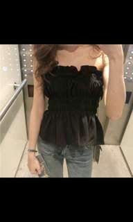 (NO INSTOCKS!)Preorder korean uzzlang ruffles tube top * waiting time 15 days after payment is made* chat to buy to order