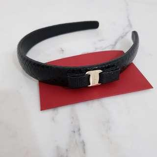 Salvatore Ferragamo Vara Bow Leather Headband (Black)