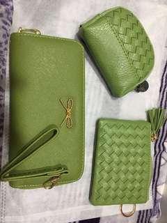 🚚 艾綠皮夾+零錢包+小卡夾三件組