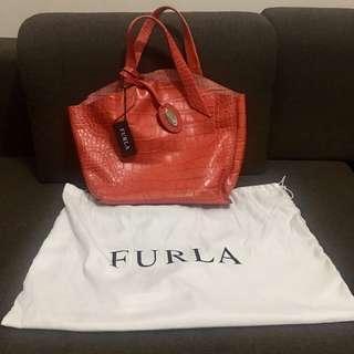 ORI FURLA Croc Embossed leather red bag