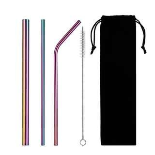 5pcs Rainbow Stainless Steel Straw Set