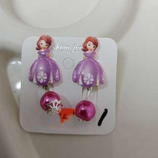 Korean Cute Trendy Kid Girl Earrings -Ear Clip without Pierced (Frozen Purple with beads)