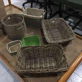 Tatami style rattan wooden baskets