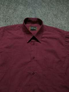 BEVERLY HILLS Maroon Cotton Shirt Short Sleeve Size M fit L