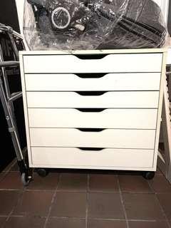 IKEA Alex chest of drawers on castors white